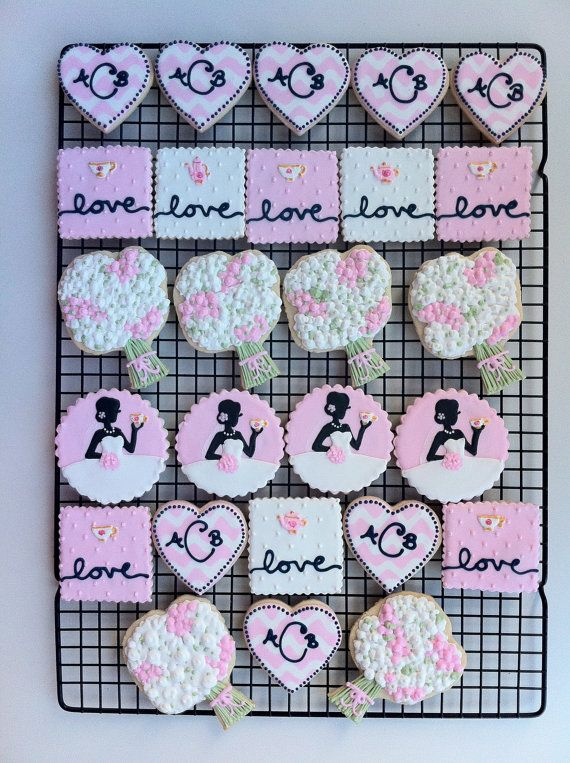 Bridal Shower Tea Party Custom Decorated Cookies by peapodscookies