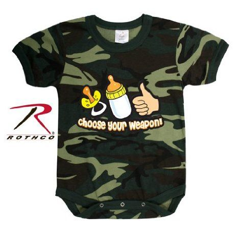Amazon.com: Rothco Infant One-Piece / Choose Your Weapon in Woodland Camo: Clothing