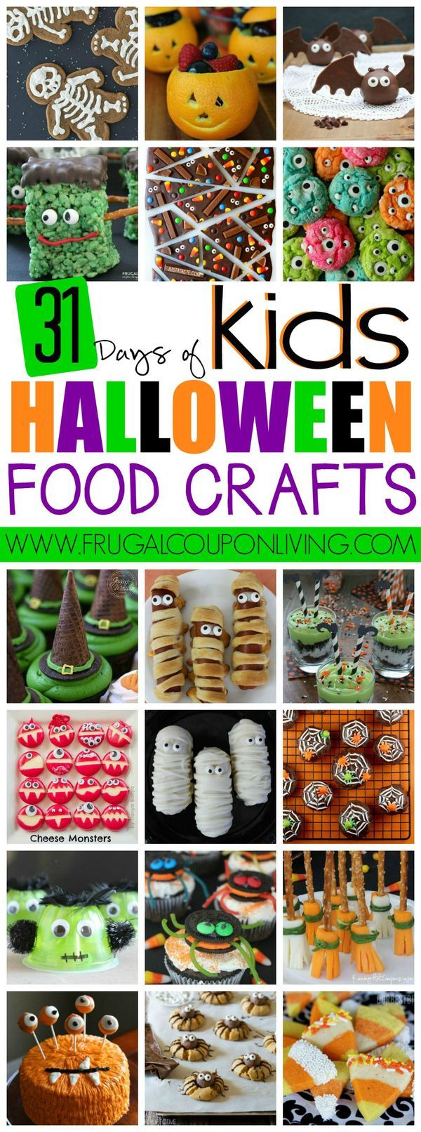 31 days of Halloween Food Crafts for Kids on Frugal Coupon Living - Halloween Party Idea, Recipes for October Fall Parties and more!