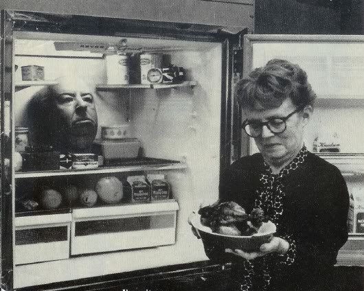 Alma Hitchcock appears oblivious to the head in the refrigerator... There must be a story behind this!