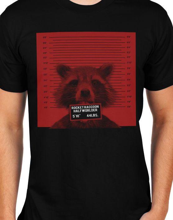 Guardians of the Galaxy Rocket Raccoon Mugshot Mens T-Shirt #Gildan #BasicTee