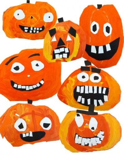 pumpkin-gallery- draw pumpkin shape on orange paper with pastel(oil).  Paint with red, orange and yellow paint.  Add black and white features.