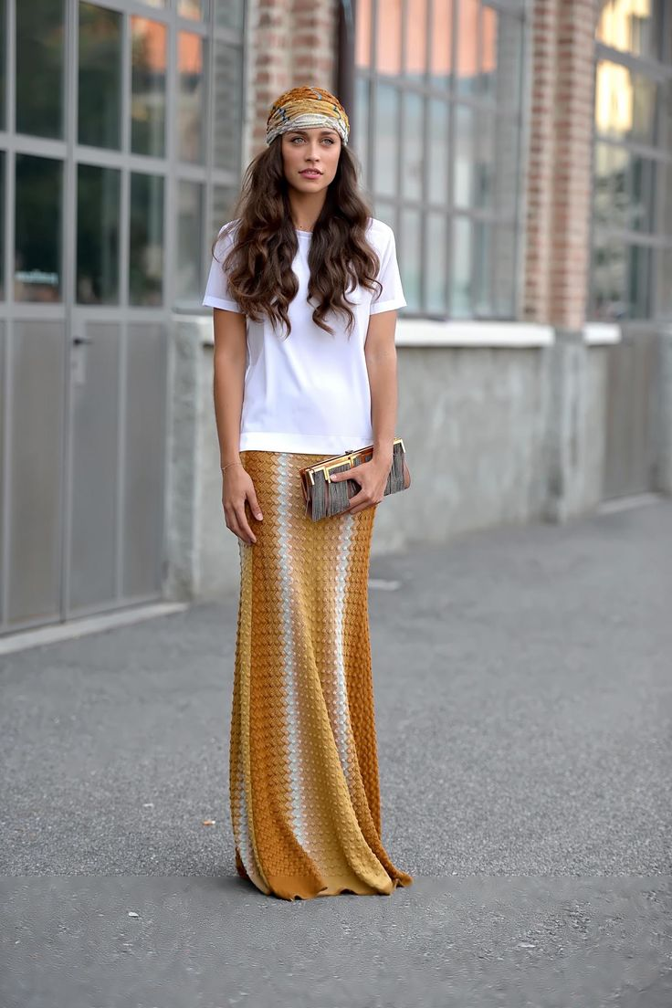 #LudovicaFrasca in Milan // head scarf and maxi skirt #bohochic #streetstyle