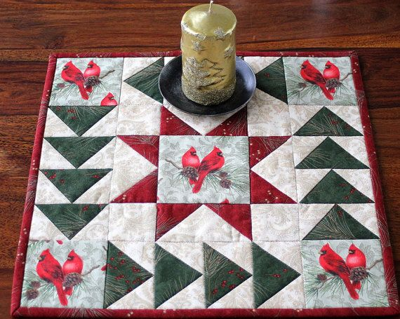 Quilted Table mat Table topper Candle mat by RedNeedleQuilts, $19.00