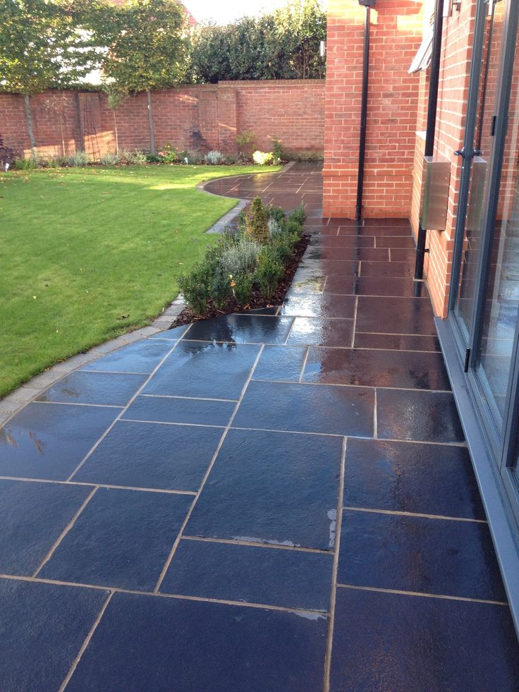 Black limestone paving.