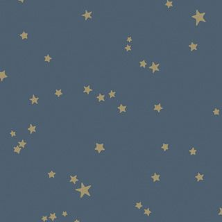 Cole & Son 103/3017 Whimsical wallpaper - blue with gold stars. Would look great as nursery wallpaper or for a child's bedroom.