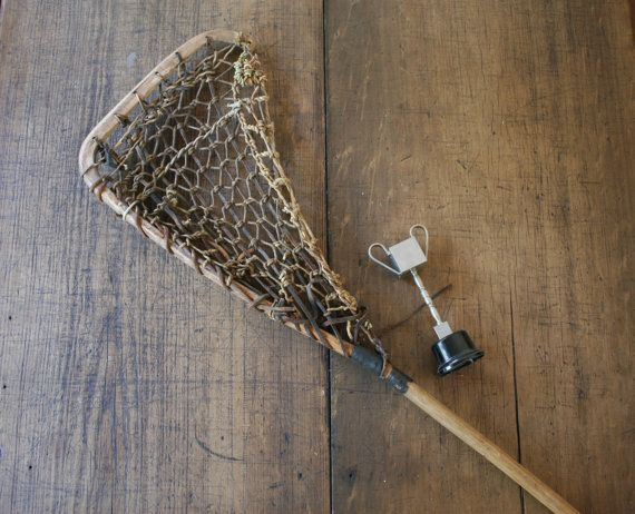 Lacrosse Stick Wood Leather Sports Man Cave Room by FoundByHer