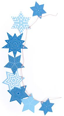 We were so excited to see these Modern Star of David Hanukkah Decorations! Modern Stars of David make beautiful Hanukkah decorations or gift tags. Plus, they are printed on 100% recycled card stock, so they don't cost the Earth! This kit by Polli Design contains 30 blue stars with 20 feet of white ribbon to either make a garland, hanging decorations or gift tags. Each kit contains several different kinds of stars, most of them six pointed.