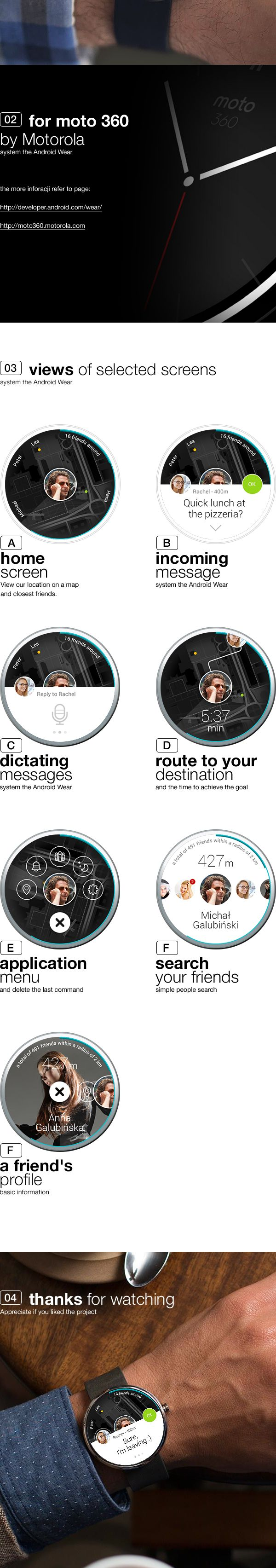 application concept for android wear by Michal Galubinski, via Behance