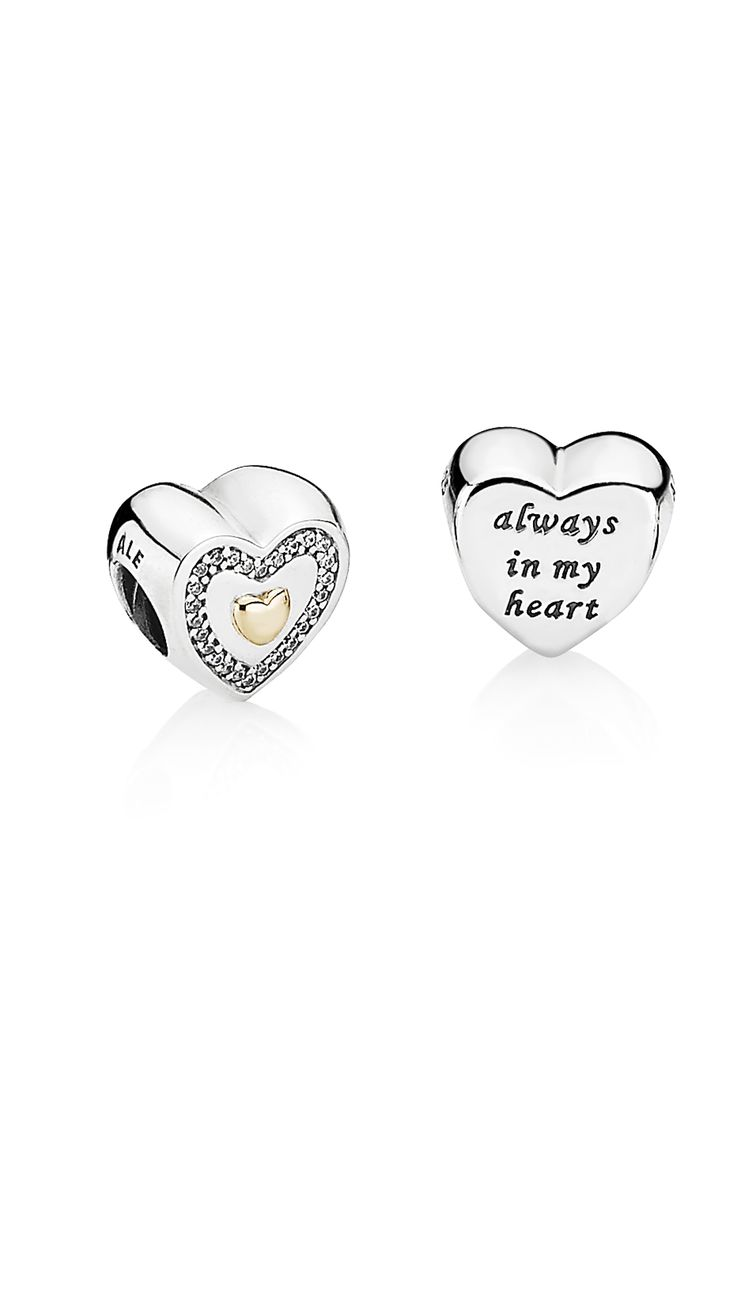 """Show your mother how much she means to you and that she will be """"always in your heart"""" with this detailed two-tone heart charm embellished with sparkling stones. Available for a limited period only, this is a true collector's item. #PANDORA #PANDORAcharm #MothersDay"""
