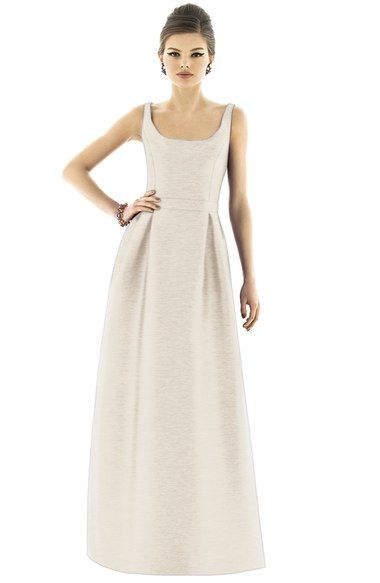 Alfred Sung Scoop Neck Dupioni Full Length Dress available at #Nordstrom