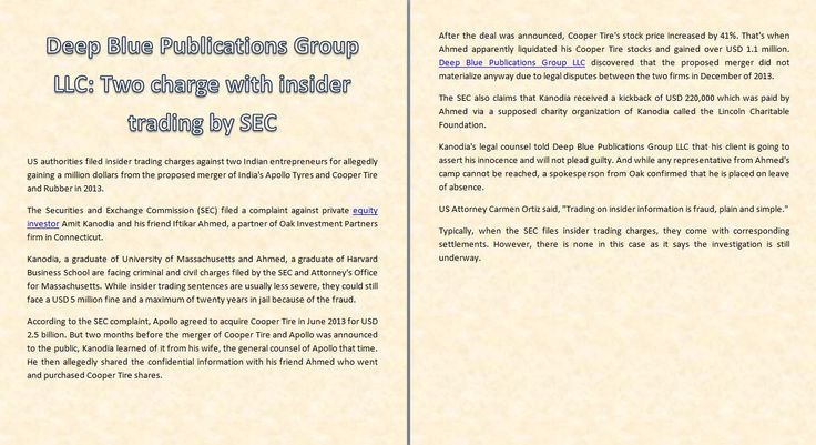 Two charge with insider trading by SEC — http://deepbluegroup.org | http://deepbluegroup.org/blog