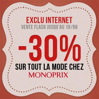 Bon Plan Monoprix : -30% sur toute la mode + livraison offerte ! Offre valable jusqu'au 10/06
