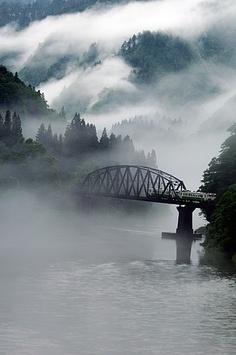 Aizu Fukushima, Japan ~ train bridge + mist