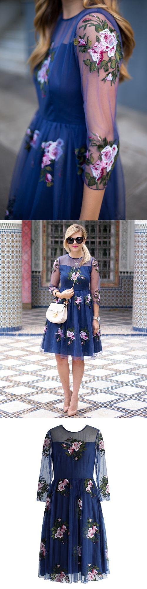 Like a rose garden, you could totally get lost gazing at this navy blue mesh dress featuring large pink and white embroidered roses. The sweetheart bodice, sheer mesh sleeves and swaying silhouette make this the perfect addition to the formal wear in your wardrobe! @GalmeetsGlam @suburbanfauxpas