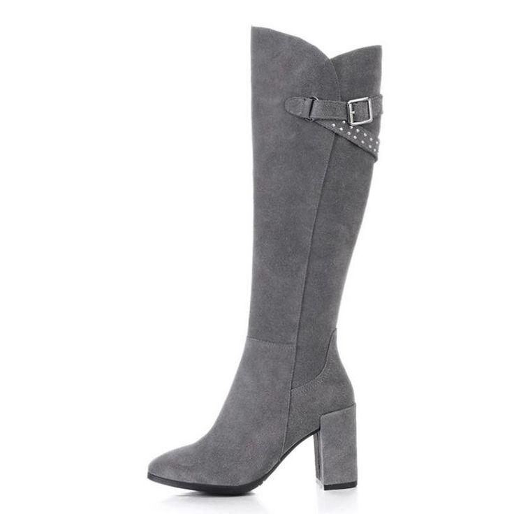 Ретро Женщины Натуральная Кожа Колено Высокие Сапоги На Высоком Каблуке Моды молния Сексуальная Острым Носом Зимние Сапоги Снега Женская Обувь Размер 34 39 купить на AliExpress