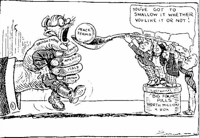 Political cartoon of the Treaty of Versailles illustrating the conditions the treaty forced upon the countries that signed it.