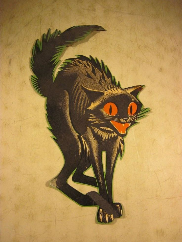vintage 1950s cardboard halloween decoration scary black cat original usa - Halloween Vintage Decorations