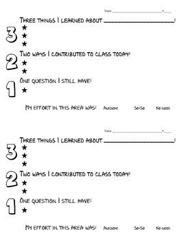 This Exit Slip is a quick and easy way to assess students' understanding of any lesson! Just give students the topic to fill in at the top and the...