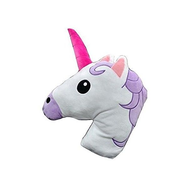Unicorn Horse Emoji Head Shaped Emoticon Soft Plush Pillow Filled... ($11) ❤ liked on Polyvore featuring home, home decor, throw pillows, unicorn home decor, horse home decor, horse throw pillows and plush throw pillows