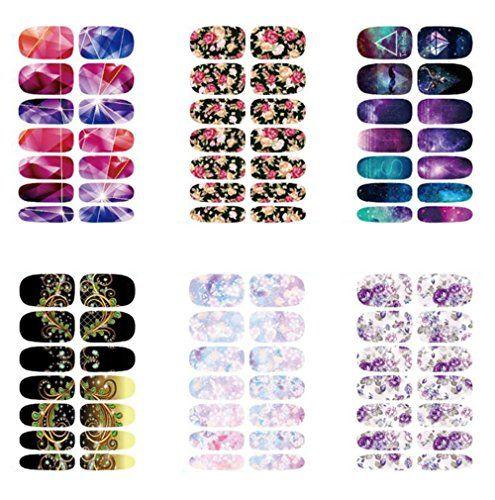 Daorier Nail Sticker Fil Bandes Autocollants à ongle Watermark Sticker Autocollant Ongle Nail Art Série de Mode,6 Pcs: 6 styles. Art Nails…