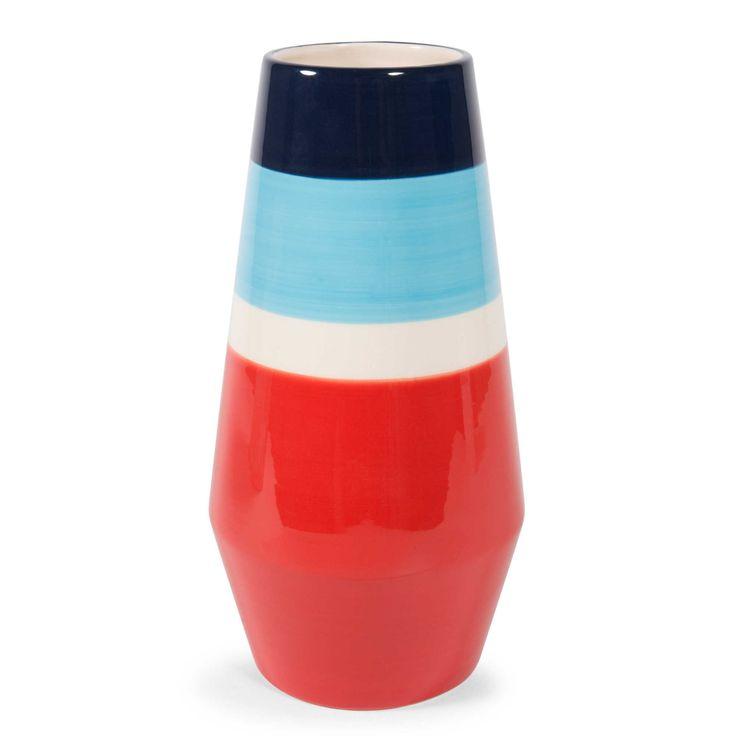 Vaso di ceramica blu/rosso H 24 cm ROSSO   Maisons du Monde