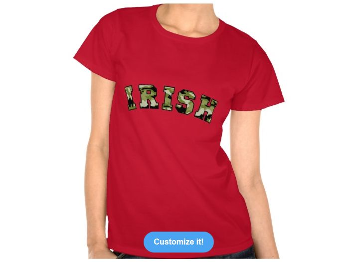 Irish Forest Camo, Style is Women's Hanes ComfortSoft T-Shirt, color is Deep Red