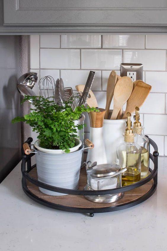 Farmhouse style, tray, kitchen decor, kitchen utensils, plant, white kitchen, tray, rustic, farmhouse, home decor, house decor, diy decor, oil glass (aff link)