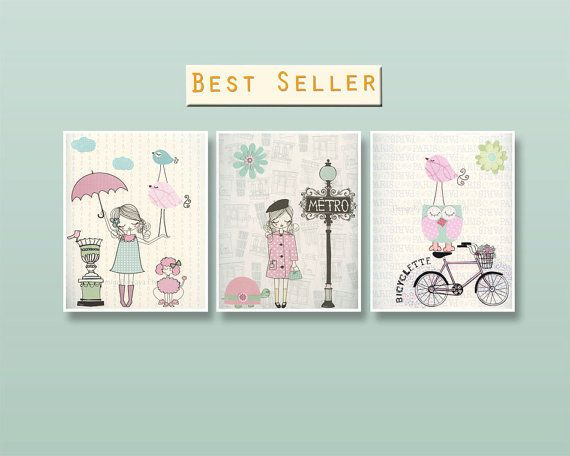 Nursery art Baby room decor Baby girl nursery wall art Paris Metro Shabby chic Vintage style nursery Pink Green Aqua Mint Umbrella Bike