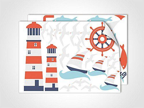 Popular Glasdekor Glastattoo farbig Set DIN A f r Badezimmer Maritim Leuchtturm M wen