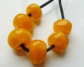 handmade lampwork glass beads, yellow encased set