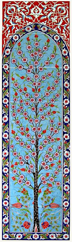 Tree of Life ~ ceramic Turkish tile panel, displaying the natural beauty of Traditional Iznik Art.