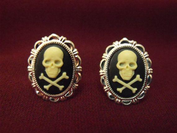 Gothic Pirate Skull and Cross Bones Cufflinks Mens by AGothShop, $15.00