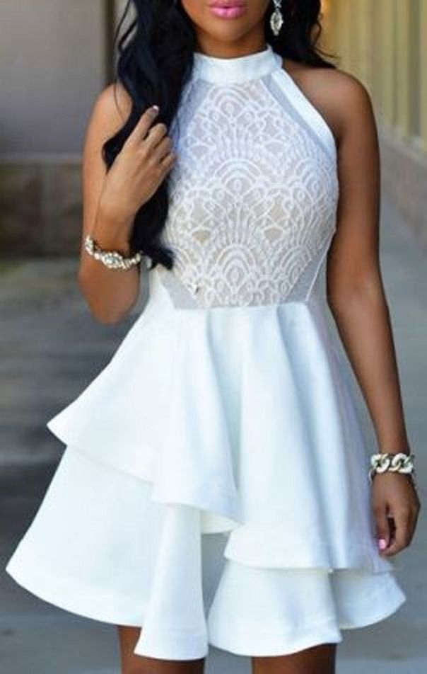Elegant White Lace Stand Collar Flounced Sleeveless Cocktail Dress
