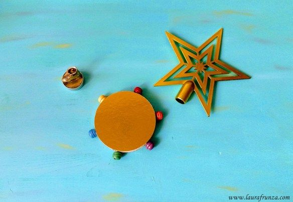 Tambourine with bells for caroling - use a round box, we have some cheese boxes which are round and small, perfect for these crafts.