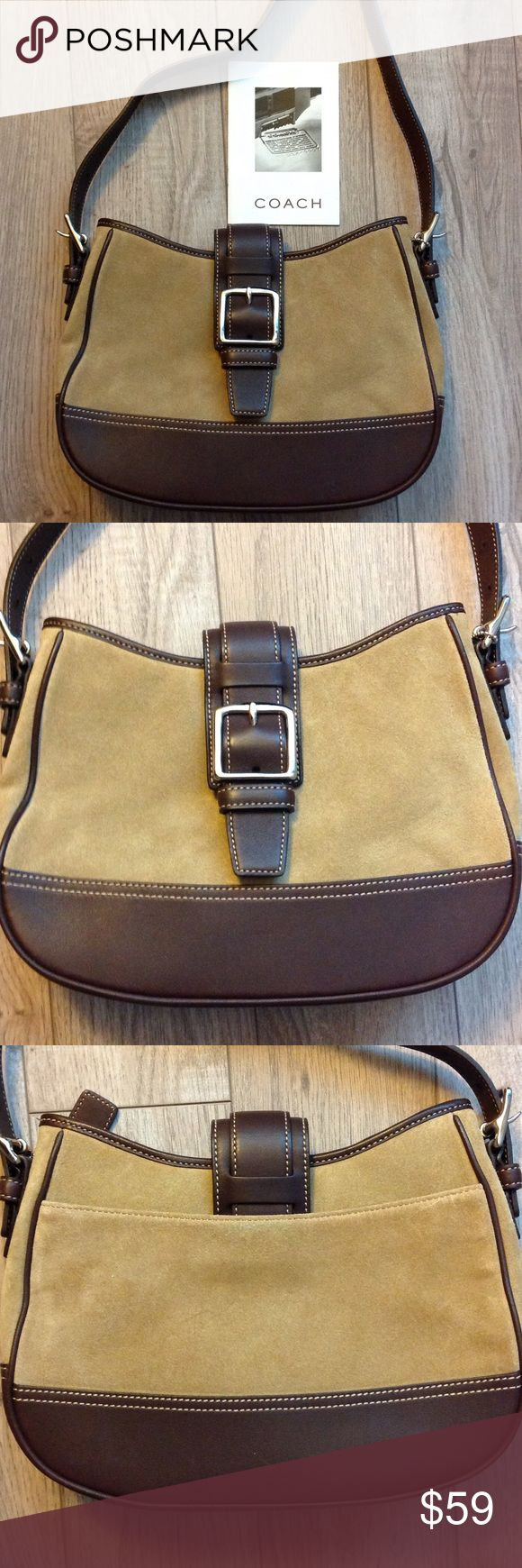 Tan suede coach bag Perfect condition tan suede and leather Coach bag. Coach Bags Hobos