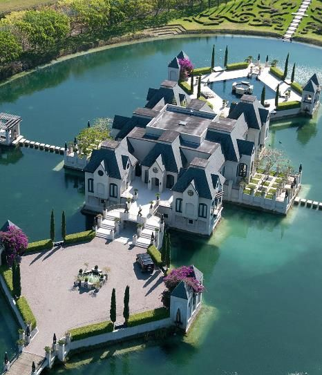 Mansion on a lake