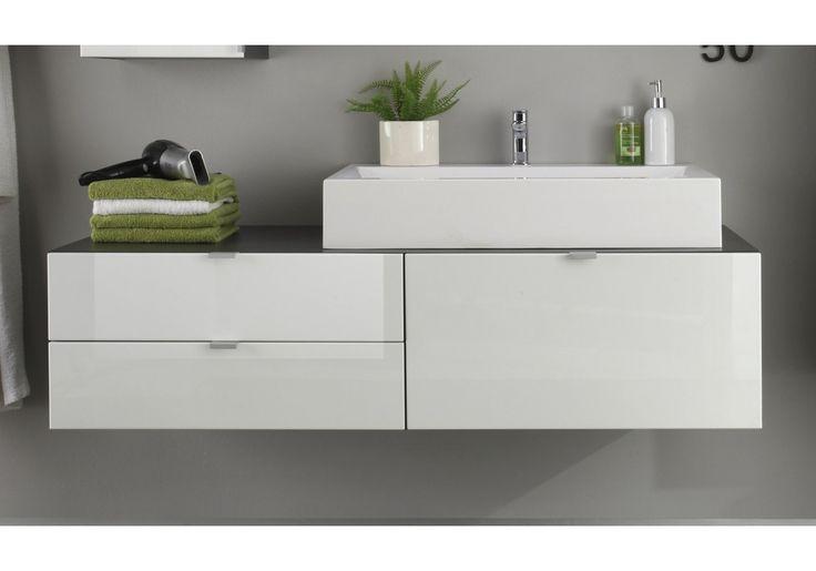 Waschbeckenunterschrank weiss hochglanz tiefgezogen/ grau Woody 93-00770