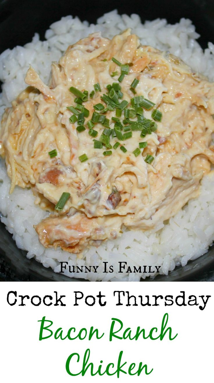 Creamy and bacony, perfect comfort food. #crockpot #slowcooker #chicken