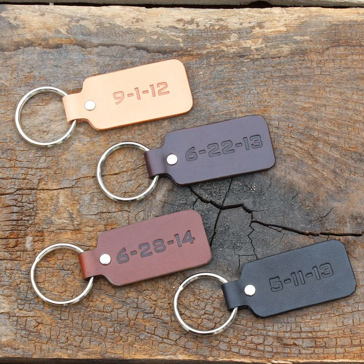 Third anniversary gift, special date key chains by Tagsmith. Get your wedding date stamped in leather. Great for 3rd anniversary on any anniversary!