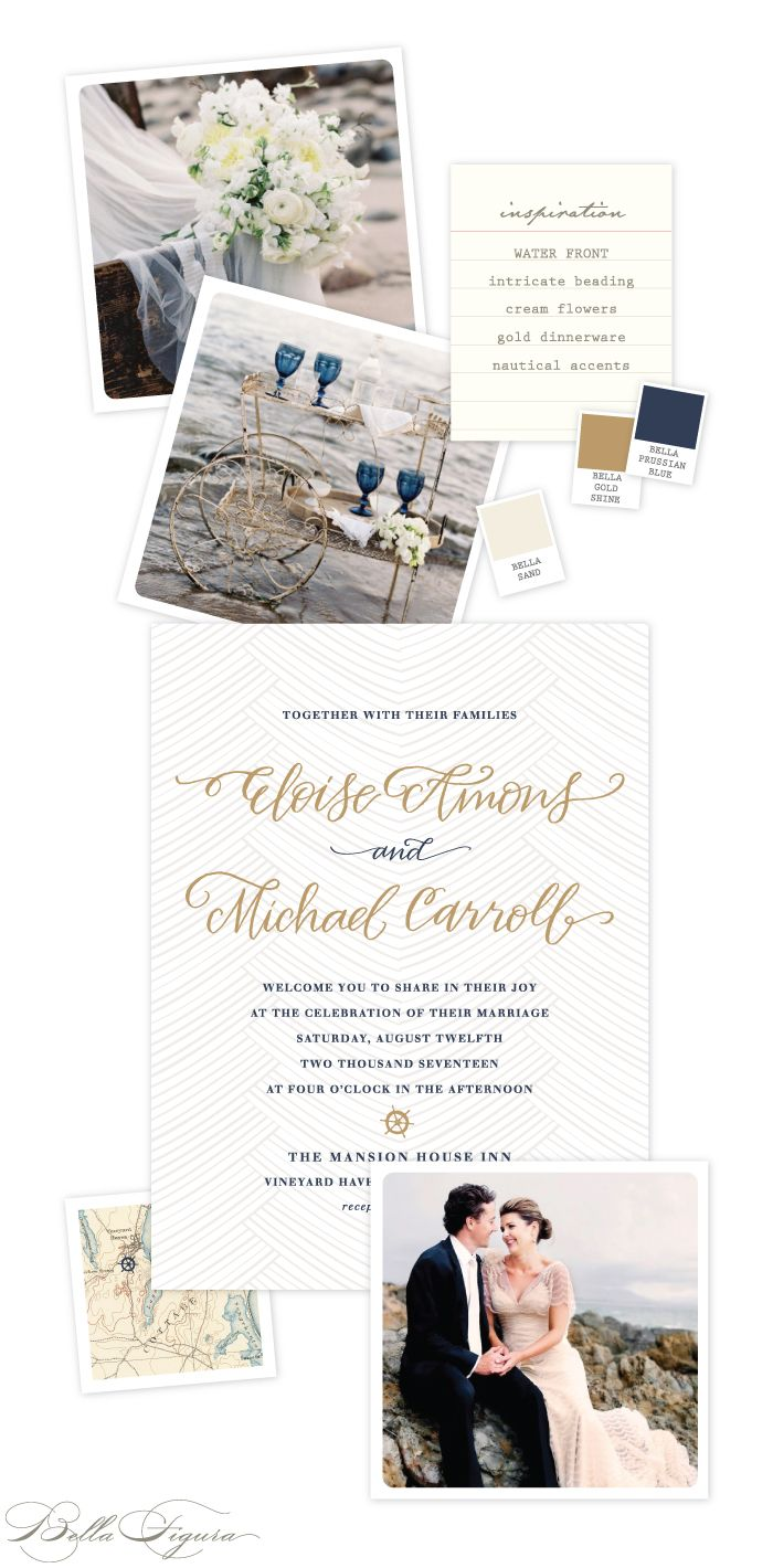 Elegant and formal nautical letterpress wedding invitation