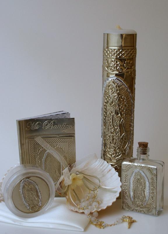 BAP8008-Spanish baptism candle, set, rosary,holy water bottle/rosary case,lady guadalupe