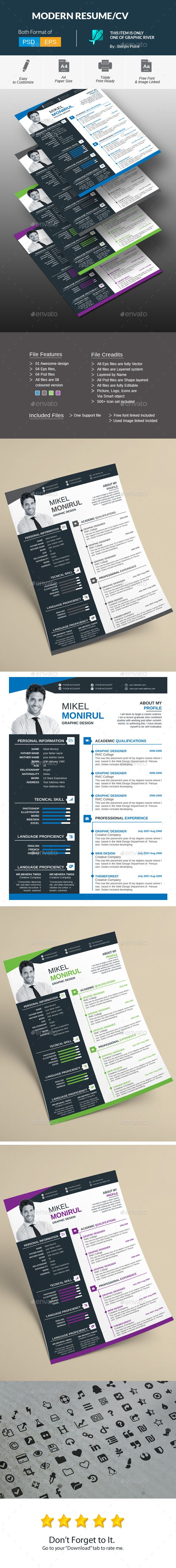modern resumecv by benjinpoint modern resumecv creative clean high class resume resumecvsave your many time cost and impress your boss with this - Cv Resume Template