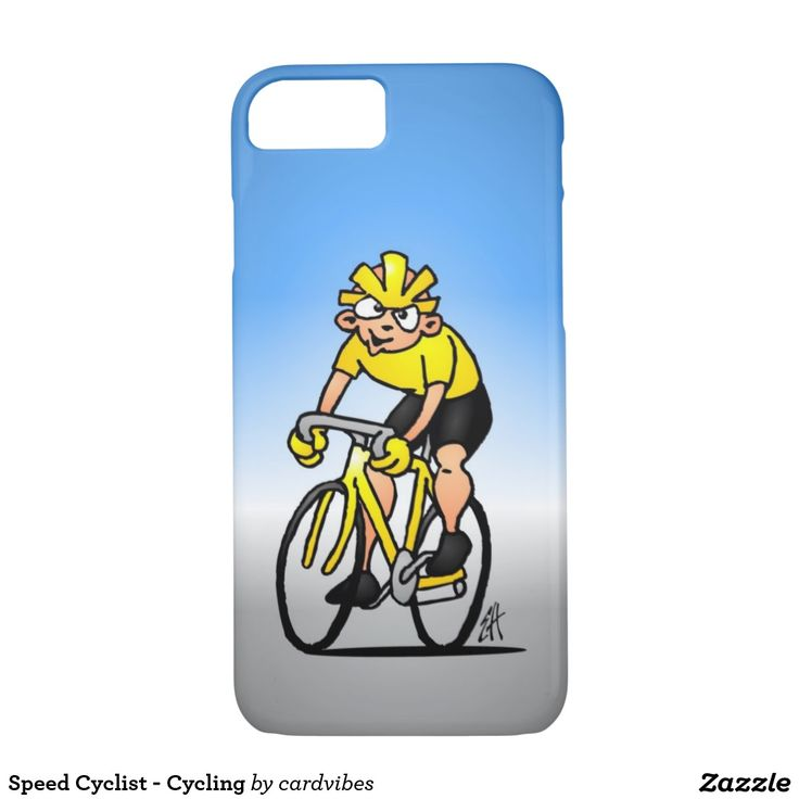 Speed Cyclist - Cycling iPhone 7 case. #iPhone7 #Zazzle #Cardvibes #Tekenaartje