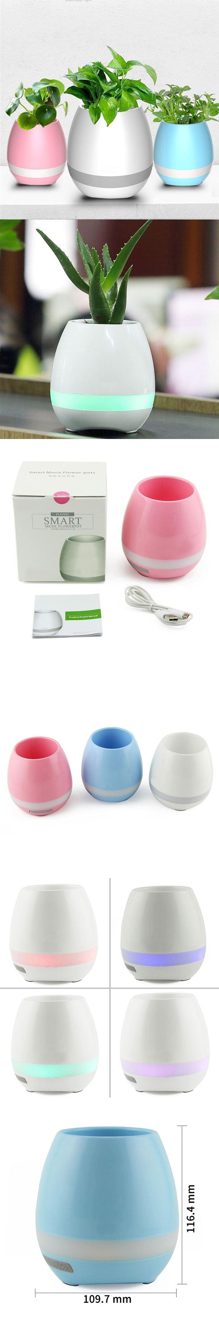 Portable Creative Wireless  Bluetooth Speaker Flower Pot with Colorful Night Light  MiNi Fidget Speakers for Iphone 7 Plus Phone