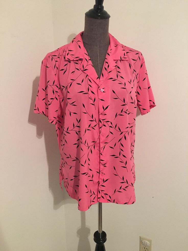 hot pink blouse with black abstract leaves!  Hipster / mod fashion! Very 1960s by fancydollhouse on Etsy https://www.etsy.com/listing/538651432/hot-pink-blouse-with-black-abstract