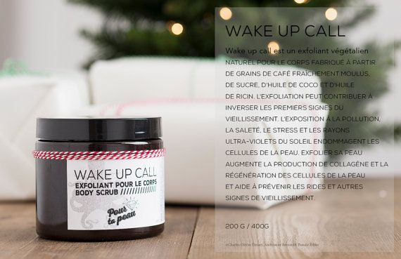 WAKE UP CALL What is it :  A natural vegan body scrub made ​​from freshly ground coffee beans, sugar, coco oil and castor oil.  What it does : The scrub will help you get rid of dry skin cells and the right dosage of oils in it will leave your skin soft as silk. Scrubbing can help reverse early signs of aging. Exposure from pollution, dirt, stress and sun's ultra violet rays damage the skin cells. This increases collagen production and skin cell regeneration to prevent wrinkles and other…