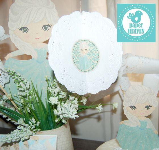 Hermosa decoración con tema de Frozen de Disney utilizando papeles ecológicos y con un estilo Shabby Chic. Todos los productos de venta en www.paperheaven.co