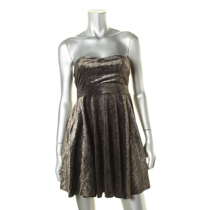 Free People Womens Sweetheart Metallic Party Dress