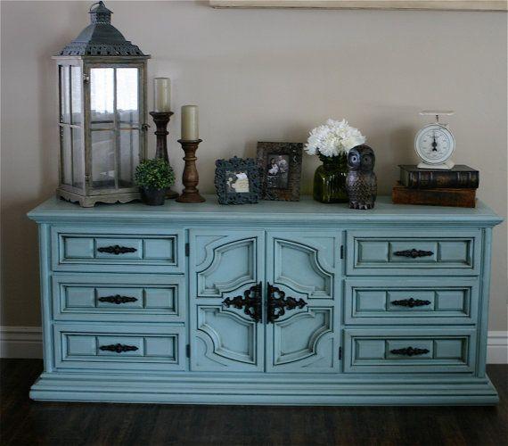 Living Room Entertainment Center Vintage Blue Dresser Buffet Media Console By Modernrefinement